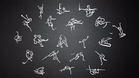 атлетика : Stickmen Athletics Animation Doodles on Chalkboard. Hand-drawn outline sequence. Five seconds buildup, two seconds loop, 3 seconds Clean the chalkboard