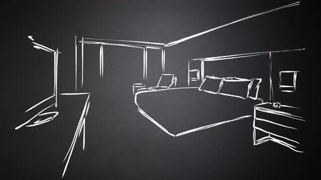 colchão : Hotel Room Interior Animated Drawing on Chalkboard. Hand-drawn outline sequence. Five seconds buildup, two seconds loop, 3 seconds Clean the chalkboard Stock Footage