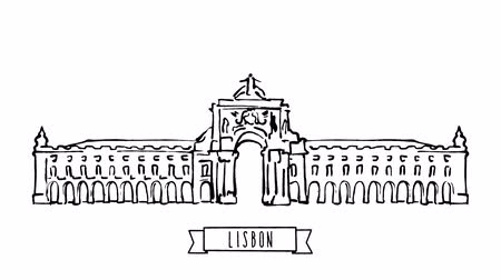 terreiro : Lisbon, Portugal, self-drawing lines on white background. Hand drawn animation with text and ribbon at the lower center. Trailer Snippet for Travel Marketing Business and Blog Campaigns. Stock Footage