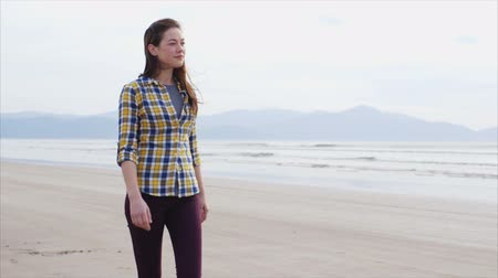 viselet : Slow motion tracking shot of attractive woman walking on beach.  Tracking shot of smiling woman enjoying nature.
