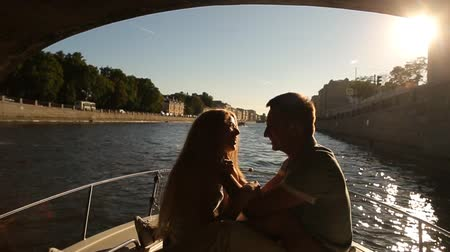 neva river : beautiful couple on a walk along the river St.Petersburg Stock Footage