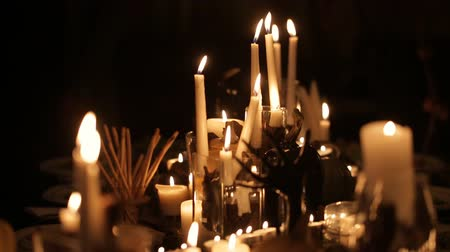 dia das bruxas : holiday candles on table for Halloween