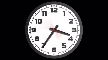 hora : Animated clock counting down 12 hours over 60 seconds. High definition animation with alpha-channel Vídeos