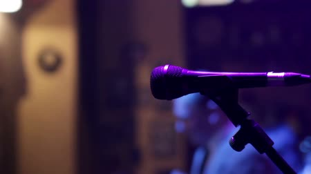 musicians stage : The microphone on the stage before the concert