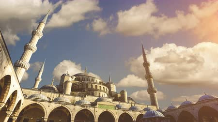 minaret : Cinemagraph - Sultan Ahmed Mosque (Blue Mosque), Istanbul, Turkey.   4k high quality footage.