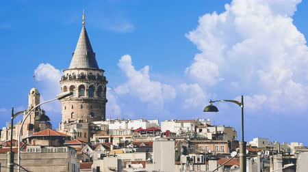 ottoman : Cinemagraph - Beyoglu district historic architecture and Galata tower medieval landmark in Istanbul, Turkey.   4k high quality footage.