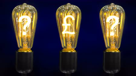 akkor : A pound sterling currency mark in the middle of retro lamps along with question marks. Stok Video