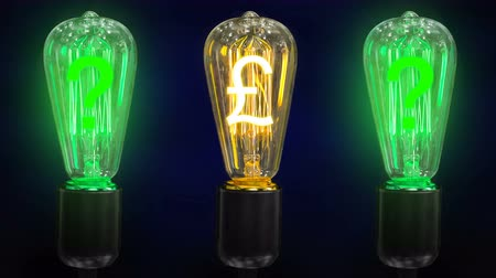 lucrative : The concept of exchange rates growth pounds. Money making idea. Light bulb with Pound sterling  symbol.