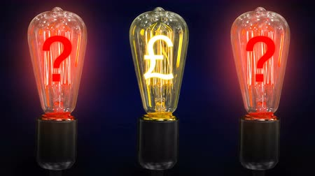 lucrative : The concept of falling exchange rates pounds. Money making idea. Light bulb with Pound sterling  symbol.