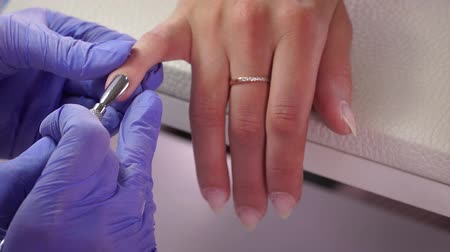 Cuticle removal with a tool Stock Footage