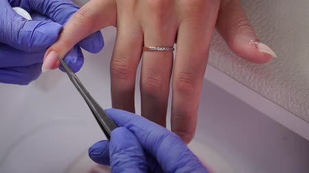 Cuticle removal with scissors Stock Footage