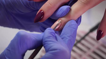 Nail decoration process Stock Footage