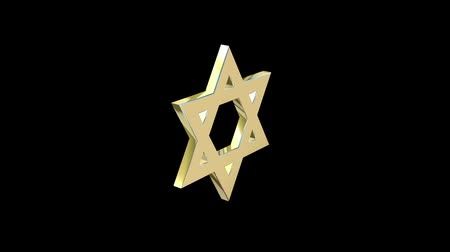 pacto : stylized image rotating star of David made of gold on a black background