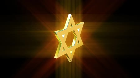pacto : stylized image rotating star of David made of gold in the glow rays Stock Footage