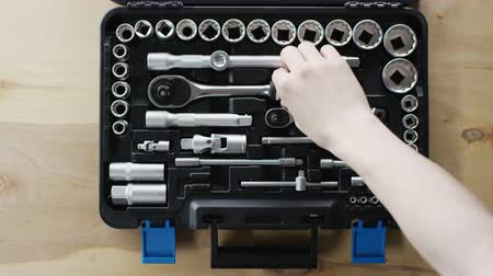 toolbox : mans hand take the tool from toolbox Stock Footage