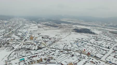 habitação : aerial view of small town at winter