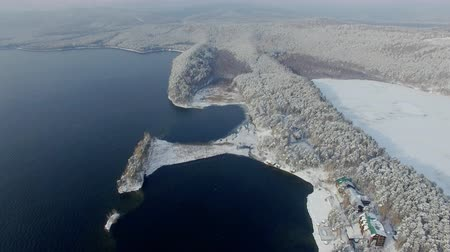 habitação : aerial view of massive forest and lake at winter