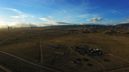 gerador : Epic aerial shot of field with windmills generating electricity