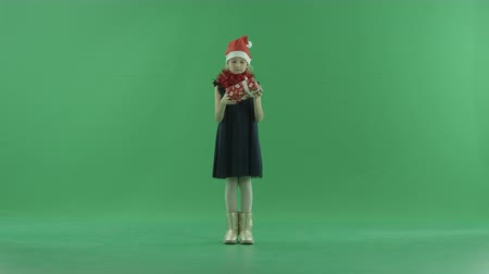 fulllength : Adorable little girl in Christmas hat looking at her Xmas present box, chroma key on background