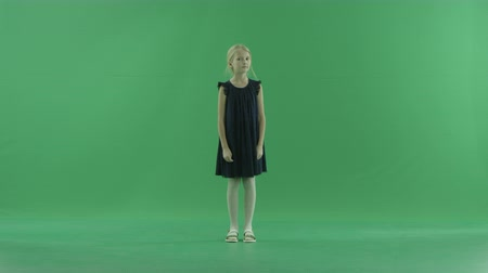 fulllength : Cute little blond girl, chroma key on background
