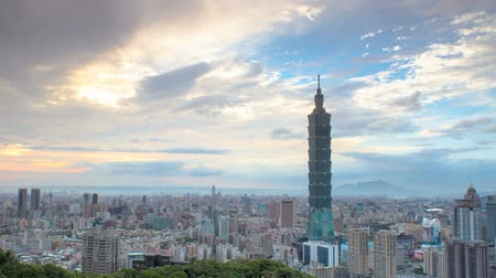 határkő : Taipei, Taiwan evening skyline (time lapse) Stock mozgókép