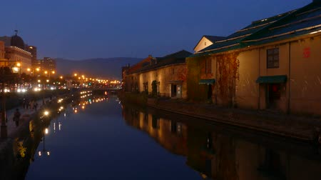japan : background of otaru canal in japan the winter evenning
