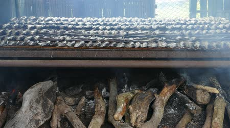 sprats : Smoked fish on plate in the summer, Taiwan Stock Footage