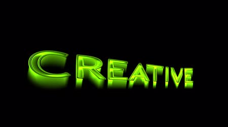 Creativity wording with nice green light and black background