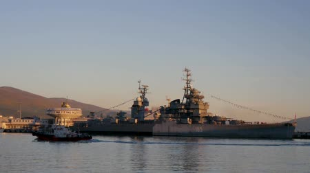 navy pier : Port of Novorossiysk, warship museum and tourists.