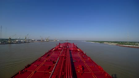 time laps : Oil tanker goes on the Mississippi River in the summer. Time lapse