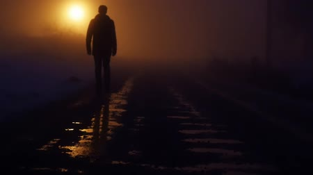 karartmak : low angle view of man feet walking into dark night. mystical fog background. light beams Stok Video
