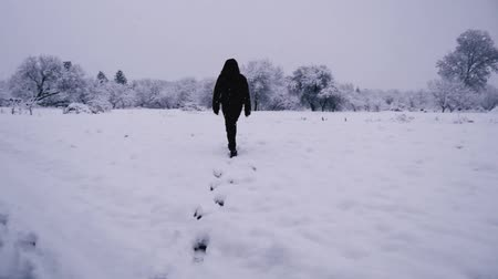 szron : A young tall man quickly walks through a frozen winter wasteland. Snow-covered trees, heavy frost. Wideo