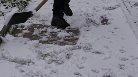 rukojeť : Removing snow with snow shovel from the sidewalk after snowstorm Dostupné videozáznamy