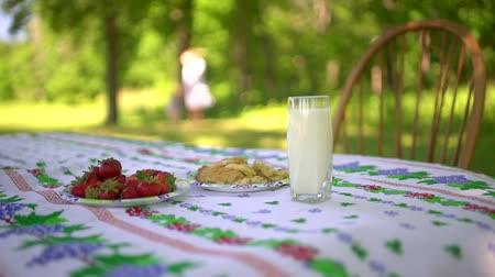 wapń : Close up of the village breakfast. Glass of milk, strawberry and cookies on the table. Woman and nature on the blured background.