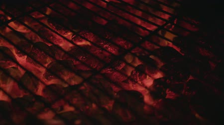 ember : Close up of the glowing hot charcoal briquettes.