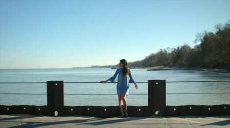 tek başına : Girl in a blue dress is standing alone on the pier.