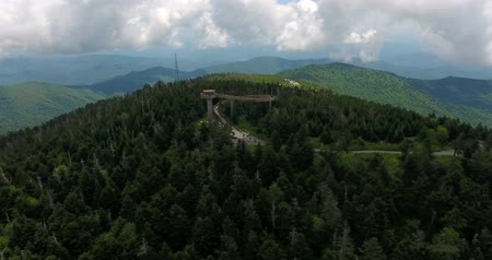 roaring : Great smoky mountains areal view with observation tower.