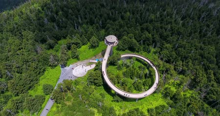 carolina : Great smoky mountains areal view with observation tower.