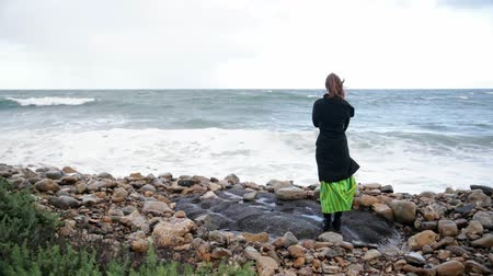pegada : Rear view of woman looking at the ocean on the beach. Cold cloudy day. Windy weather. Vídeos