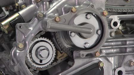 silnik : V6 engine cutaway showing timing chain and gear action