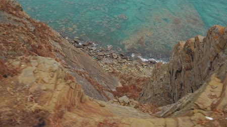 rock wall : Look from the high rock over the sea Stock Footage