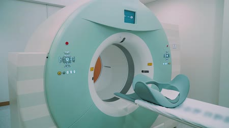 tomography : Room with white magnetic resonance tomography for examination of the human body close-up
