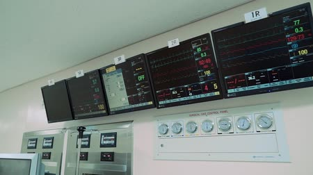 intensive care unit : Monitor showing charts with patient s vital indicators and heart rate Stock Footage