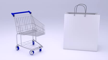 přední : white shopping bag and cart shop 3d animation