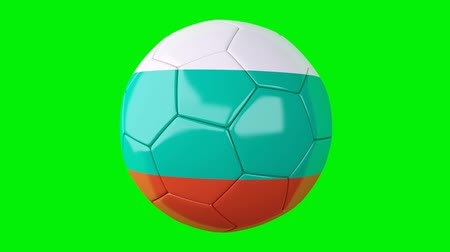 soccer ball with bulgaria flag on Green screen