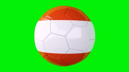 soccer ball with Austria flag on Green screen Vídeos