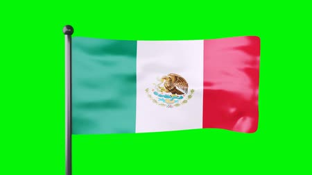 3d Mexico national flag waving on green screen