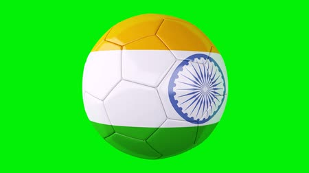 match : soccer ball with india flag on Green screen