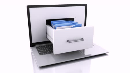 conservazione : Archivio dati. Laptop e file. 3d animation