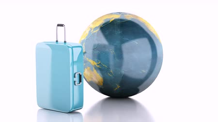travel suitcase, airplane and world globe. travel concept. 3d animation